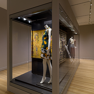 19 foot long glass microclimate case, with movable perforated aluminum panels for hanging, and storage drawer beneath, Rhode Island School of Design Museum