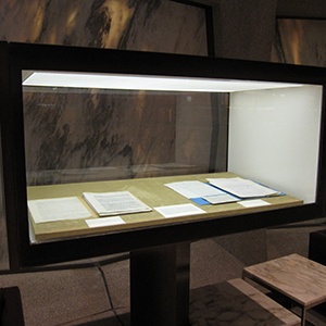 Classic case retrofitted for improved archival qualities and upgraded lighting, Yale University Beinecke Rare Book Library