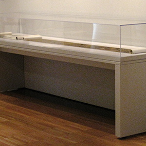 L Case with hinged vitrine on gas lifters, Yale University Art Gallery