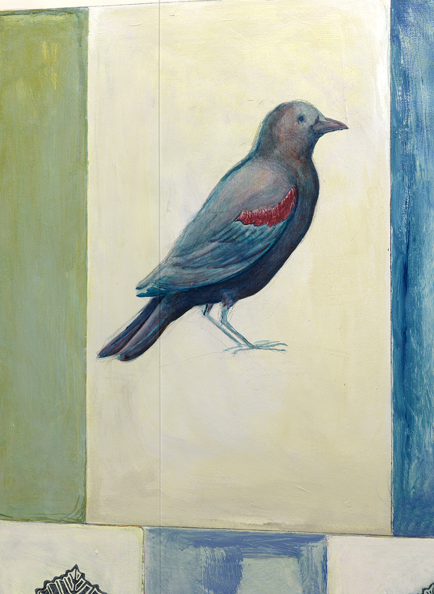 Detail photo of bird painting behind a seamed piece of Optium Acrylic® glazing