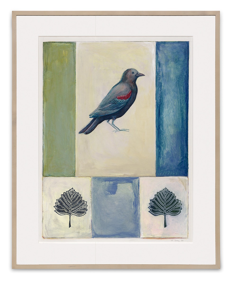 Painting of a bird framed with piece of seamed Optium Acrylic® glazing